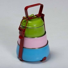 3 Layer Stainless Steel lunch box/colour tiffin with compartment