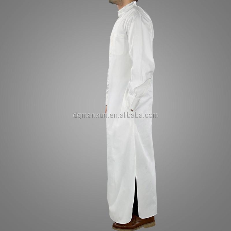 Wholesale High Quality Saudi Arabic Islamic Muslim Men White thobe (3).jpg