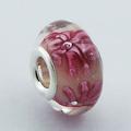 Cuenta de Cristal Murano con Nucleo de Plata de Ley 925 Florecillas Rosas