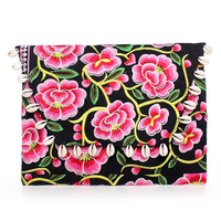 Magnolia Flower Hmong Clutch Bag with White Shells - Pink