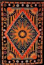 Celestial Sun Moon Stars Planet Tapestry, Indian Hippie Wall Hanging, Mandala Cotton Dorm Decor Beach blanket, Bohemian Bedspre