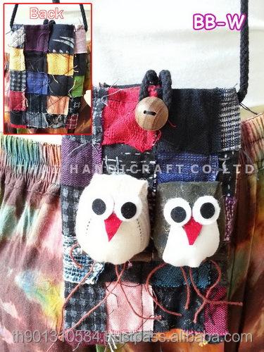 Thai Handmade Patchwork Fabric Owl bag Mobile bag
