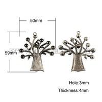 Tibetan Style Pendant Rhinestone Settings, Lead Free, Tree, Antique Silver, 59x50x4mm, Hole: 3mm; Fit for 5mm rhinestone