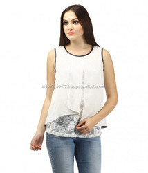 Designer printed indo western style ladies tunic top\indo western tops\white office wear shirts