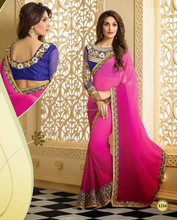 Pink shaded with Blue on Zari Embroidery 7Inch Border Royal Blue Designer Sarees