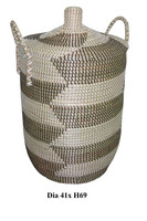 Artex Thanglong- Decorative natural seagrass basket, Large round seagrass storage baskets with lids and handles