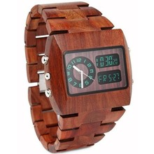 Wooden Watch 100% Natural Solid Wood Wristwatch With Green Light LED Display