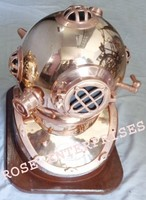 Copper Antique Nautical Brass Diving/Divers Helmet with Wooden Base