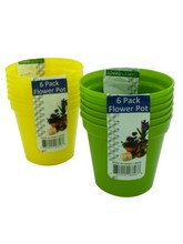 Plastic flower pots, pack of 6, assorted