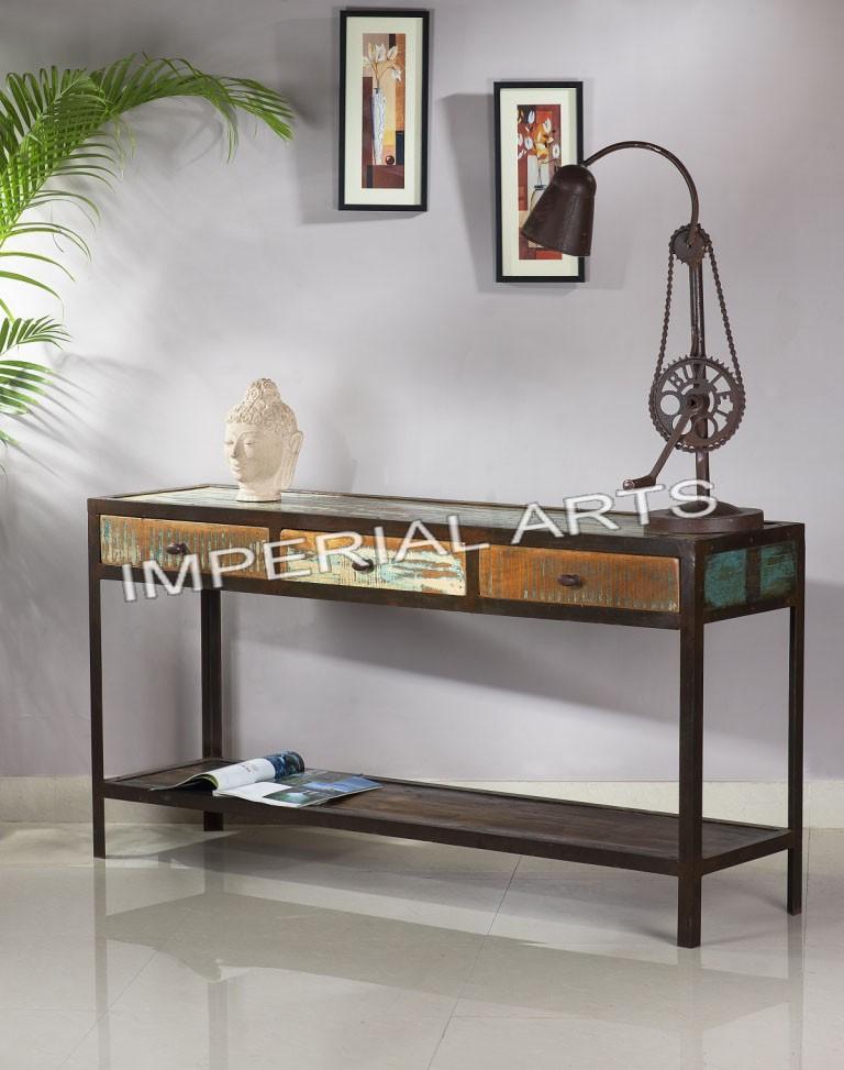 indienne fer et recyclage table de console de bois avec 3 en bois tiroir. Black Bedroom Furniture Sets. Home Design Ideas