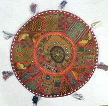 """22"""" Floor Round Pillow Cushion Cover Brown Handmade Embroidered Floor Tapestry Throw INDIAN"""