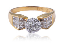 SEXY PRESSURE SETTING 1.36 CTS G COLOR NATURAL DIAMONDS RING IN SOLID BIS HALLMARK 18KT YELLOW GOLD