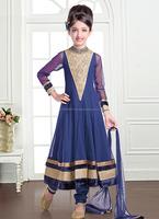 Indian clothing kids wear anarkali salwar kameez suits\designer party wear anarkali for children\designer lace work suits