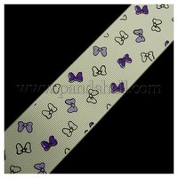 Single Face Bowknot Printed Grosgrain Ribbon, Ivory, 25mm, about 100yard/roll SRIB-K001-25mm-01B
