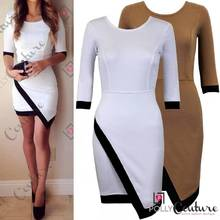 Womens Boutique White Black Asymmetric Long Sleeve Bodycon Party Short Tea Dress