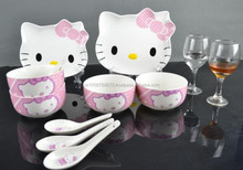 HOT Wholesale new hello kitty design ceramic bowl , plate sets, Elegent cute China bowl and spoon and plate gift sets