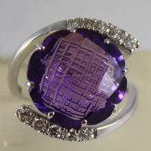 18K WHITE GOLD RING DIAMONDS ct0.38 AMETHYST ct11.50 AMAZING CUT, MADE IN ITALY