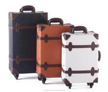 TSA lock metal luggage & travel bags vintage market trolley suitcase vintage japanese manufacture many color transparent bag