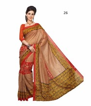 Nueva ropa de sport marrón Bhagalpuri seda sari