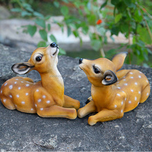 Simulation Resin Couple Sika Deer, Resin garden vivid animals, Decorative Couple Sika Deer
