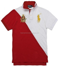Half Red & White Color Polo t Shirt, Men Polo T Shirts, 100% Cotton Fashion Design Polo T Shirts Free Shipping To UK & USA