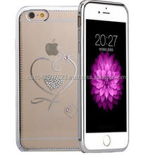 Luxury Diamond Metal Bumper Case with PC Cover for iPhone 6 Plus