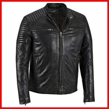 Special Design Wholesale Price Punk Style Fashion Coat Black Man Leather Jacket 2014