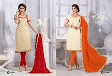 Fancy Designer Cream & Marune & White V /S Orange Straight Chudidar