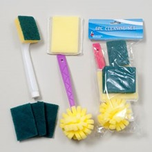 CLEANING SET 6PC 3ASST W/DISH SCRUBBERS, SPONGES & PADS #G11161