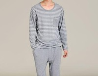 100% cotton long sleeve mens knitted pajamas set