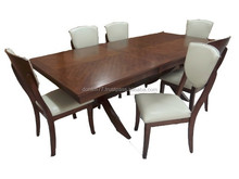 white leather PU leather solid rubber wood dining sets for family