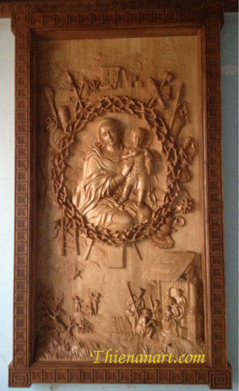 Our lady religious christianity wood relief panel for the