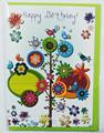 Feliz cumpleaños flores y pájaros de tarjeta de felicitación del diseño