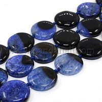 "Gemstone Beads Strands, Natural Agate and Crystal, Flat Round, Dyed, Blue, 30x7mm, Hole: 1mm; about 13pcs/strand, 16"" AGAT-30D"