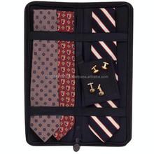 Cheap Wholesale Genuine Leather Tie Case / Leather Tie Case With Cufflings Holder / Black Zip Around Tie Case
