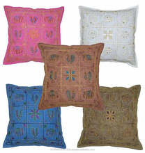 "18"" X 18"" Home Style Pastoral Embroidered Cotton Decorative Throw Pillow Cover"