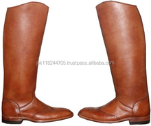 Polo Men Horse Riding Leather Long Zipper Ridding Real Leather Boots Tall Boots.