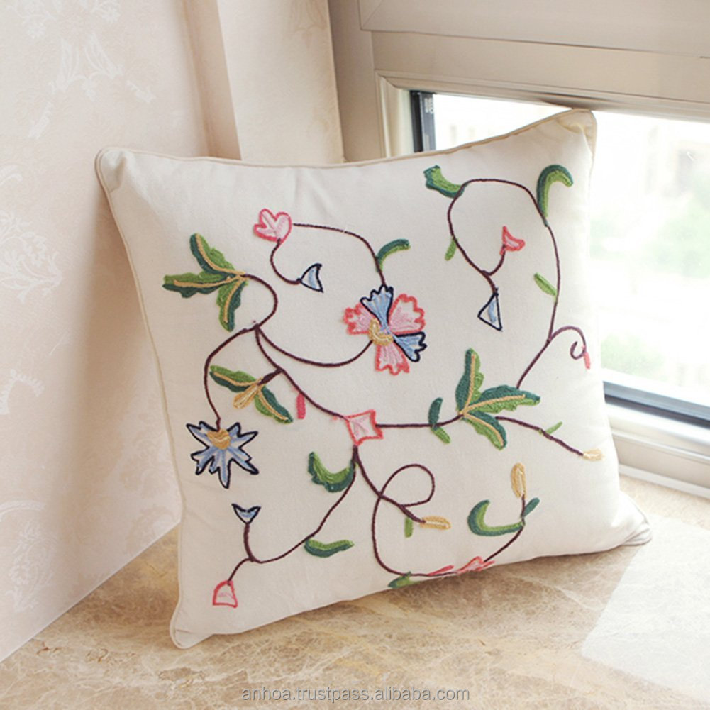 Black Flower And Tree Embroidery Cushion Cover Plain Linen