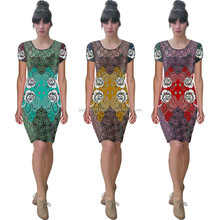 3530000 Printed Jeresy Sexy Party Fashion Women Dresses