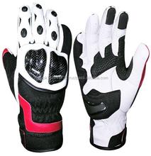 Motor Bike White & Black Leather Biker Motorbike Motorcycle Waterproof GLoves