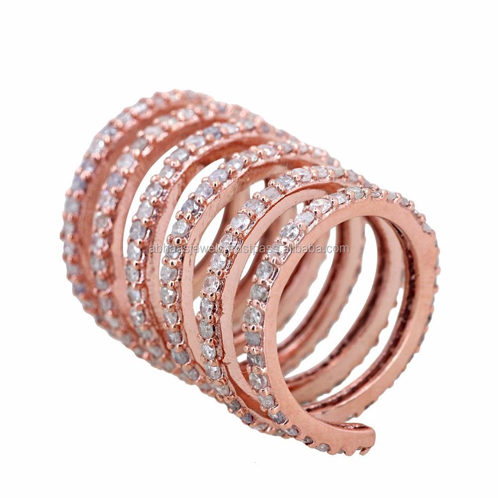 14k Rose Gold Spiral Ring Pave Diamond New Design Long Finger Gift ...