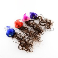 Girl's Party Jewelry Accessories Iron Feather Hat Alligator Hair Clips, with Ribbon Flower and Human Hair Wig, Mixed Color, 57mm