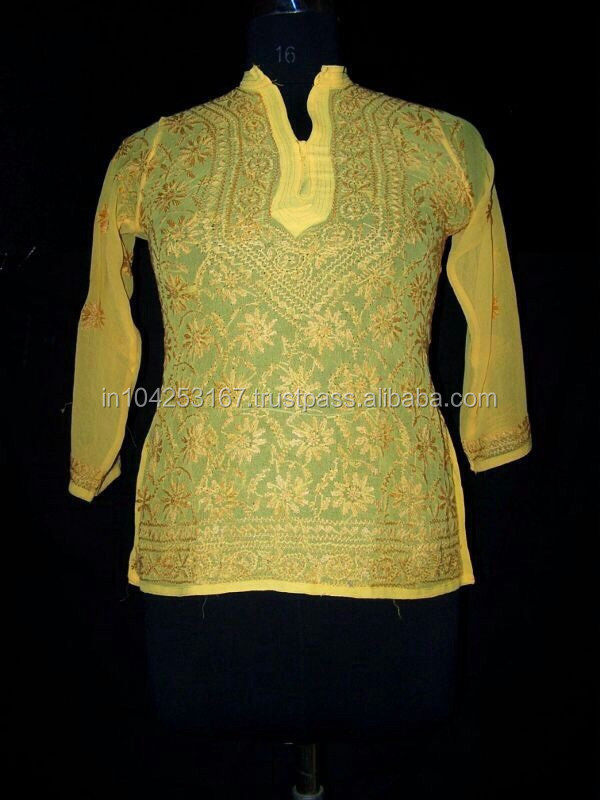 chiffon embroidered indian kurtis