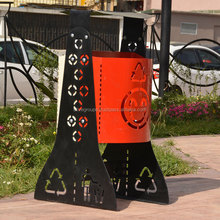 Park metal waste recycling bin for collecting /trash bin/trash can waste recycling bin