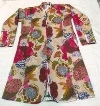 Chaqueta larga   las para mujer de la fruta de impresión blanco acolchado chaquetas   impreso acolchado chaquetas