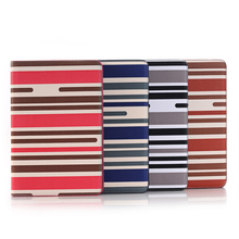 New Strip design leather case with wallet credit holder for apple ipad mini 4