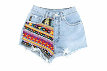 Vintage Denim Shorts with Hill Tribe Patchwork Thailand - Size S