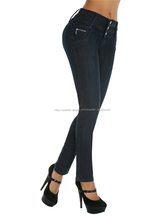 Lavados moda de punto mujeres altas de denim jeans ladies sexo jeans moda mujer vaqueros flacos de empalmar elevación