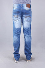 Mens Fashion Denim in super stretch Inside brushed fabric in Dark wash with Whiskers, sand blasting and pinky effect