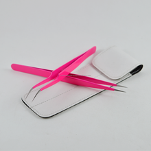 Eyelash Extension Tweezers Set Curved Tip Tweezer With Straight Tweezer In Pink Color